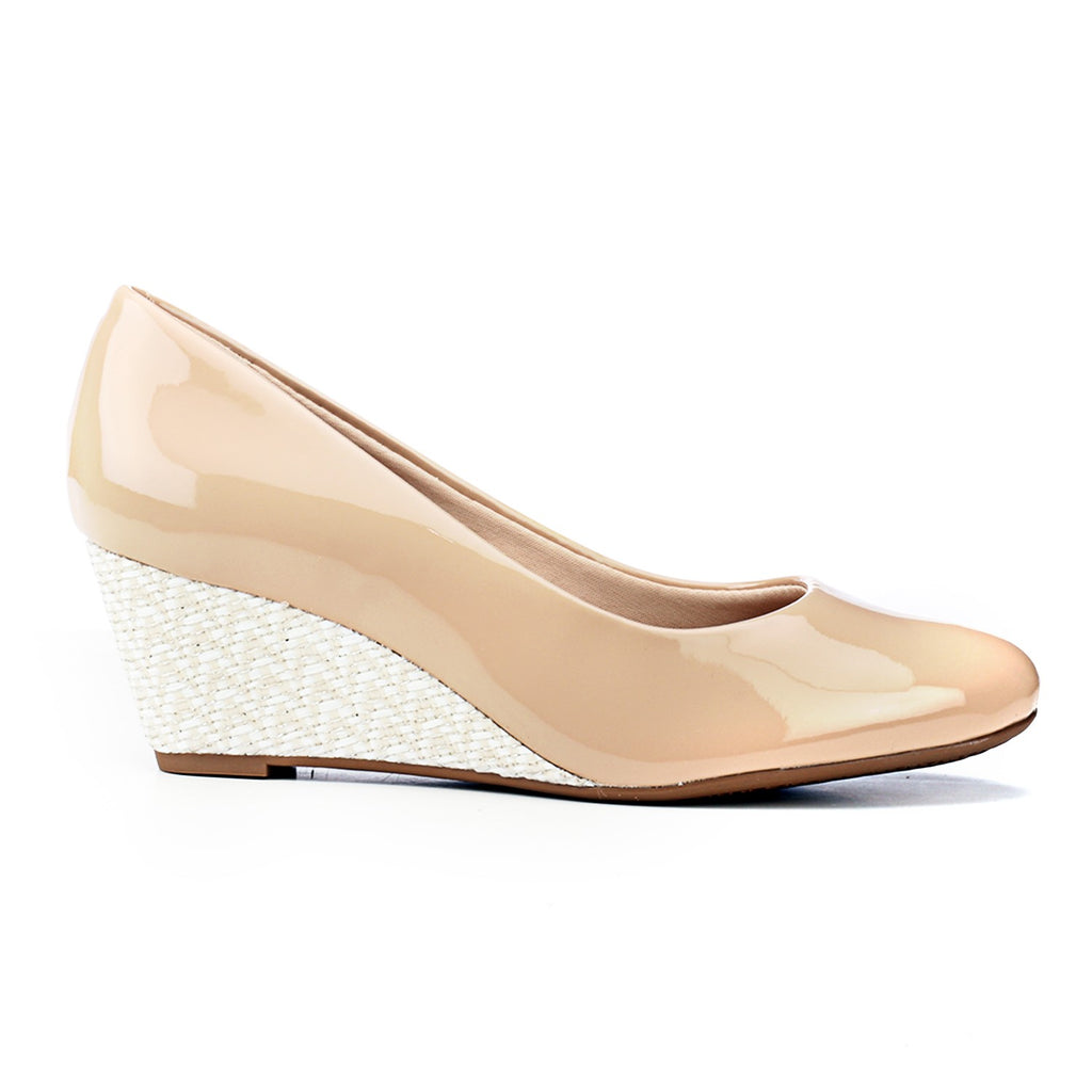 Casual Wedges with Contrast Heels - Beige - Full Shoes - Pavers England