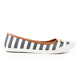 Cute Striped Textile Ballerinas-Navy - Full Shoes - Pavers England
