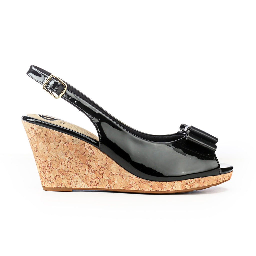 Synthetic Wedge Sandals for Women-Black - Pavers England