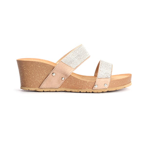 Jewel Embellished Synthetic Mule Wedges for Women - Pavers England