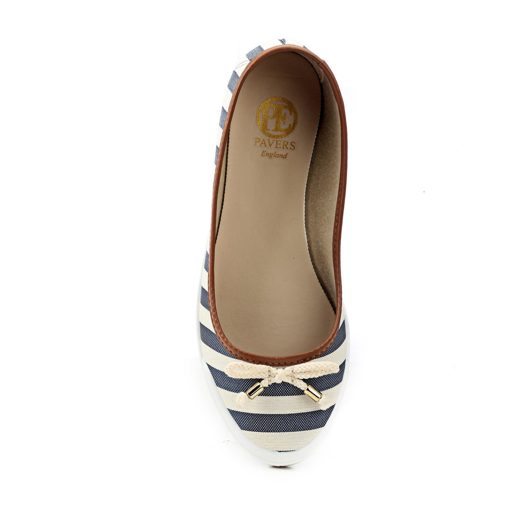 Cute Striped Textile Ballerinas - Casual Shoe - Pavers England