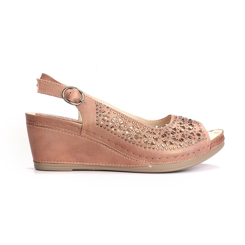 Laser Cut Wedges for Women-Pink - Sandals - Pavers England