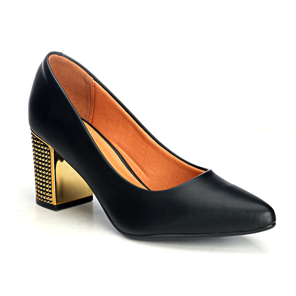 Metallic High-Heel Shoes - Black - Heels - Pavers England