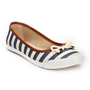 Cute Striped Textile Ballerinas - Navy - Pumps - Pavers England