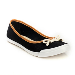 Casual Textile Ballerinas With a Bow-Black - Full Shoes - Pavers England