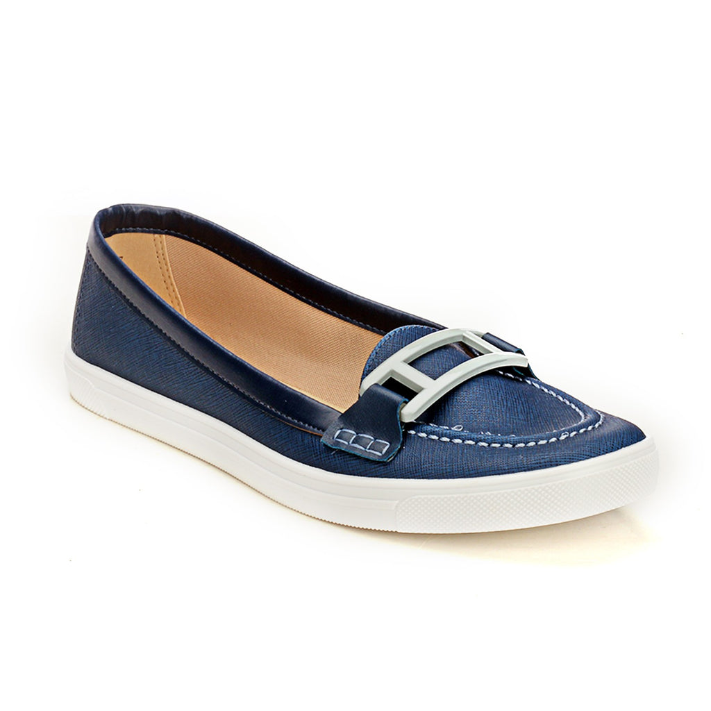 18e3fb6f7fe Pavers England Navy Blue Loafers with Buckle Top