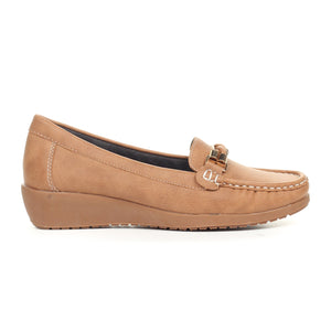 Women's Slip-on Shoe-Tan - Full Shoes - Pavers England