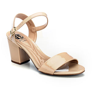 Heel Sandals with Buckle Fastening for Women-Beige - Sandals - Pavers England
