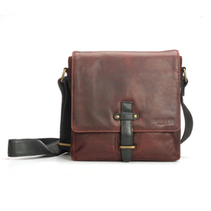 Brown Leather sling bag with buckle for Men - Mens - Pavers England