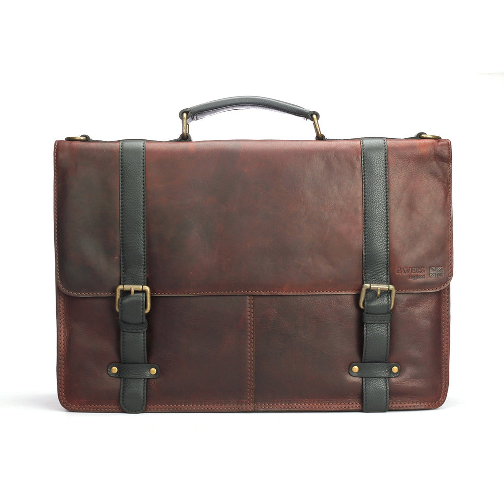 Executive Leather Bag with Buckles - Brown - Bags & Accessories - Pavers England