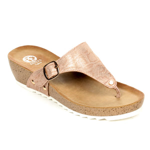 Casual Buckle Wedges for Women-Pink - Toeposts - Pavers England