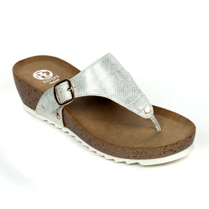 Casual Buckle Wedges for Women-White - Toeposts - Pavers England