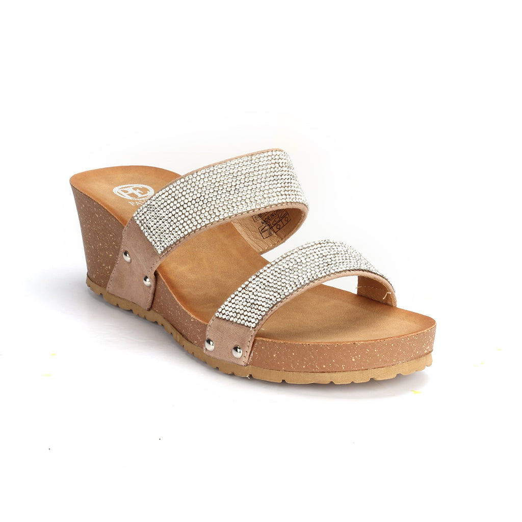 Jewel Embellished Synthetic Mule Wedges for Women - Mule - Pavers England