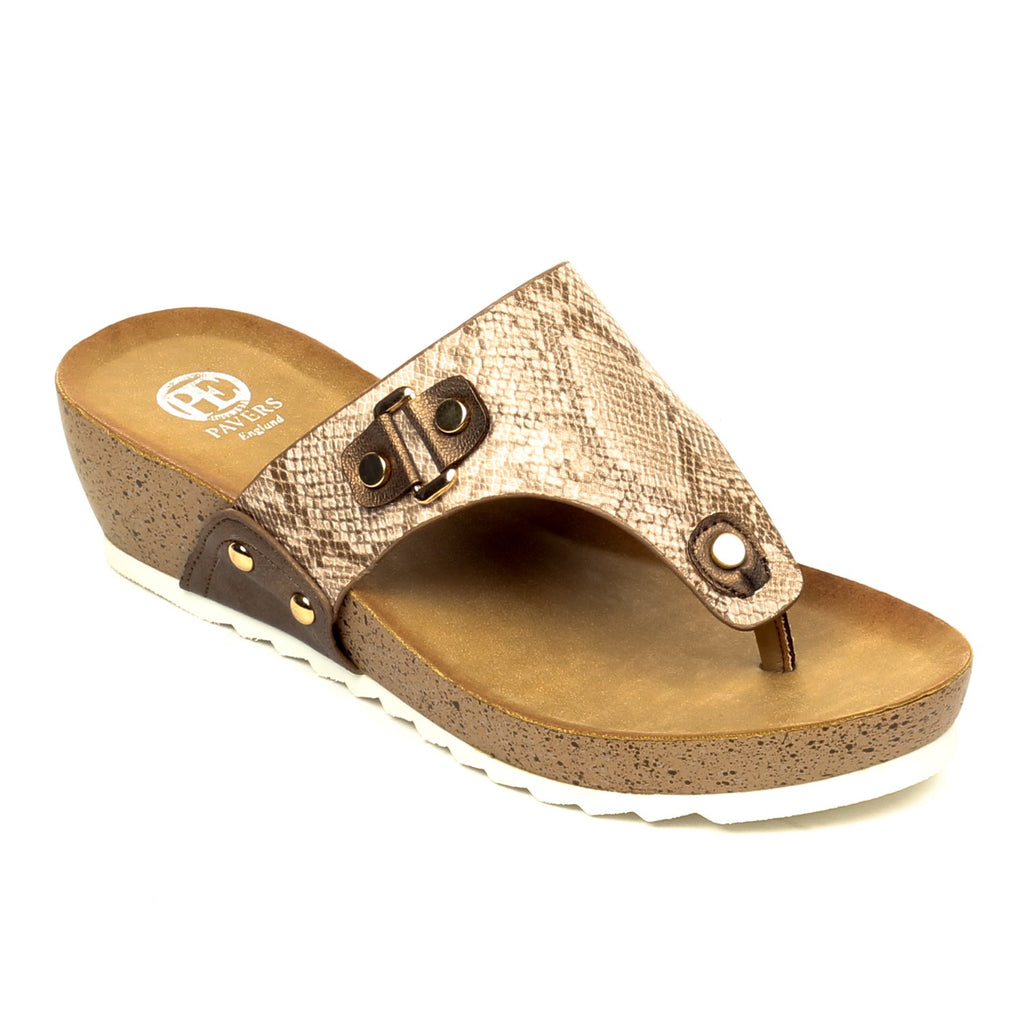 03bf8ee22d72 Pavers England Metal Embellished Toepost wedges for Women