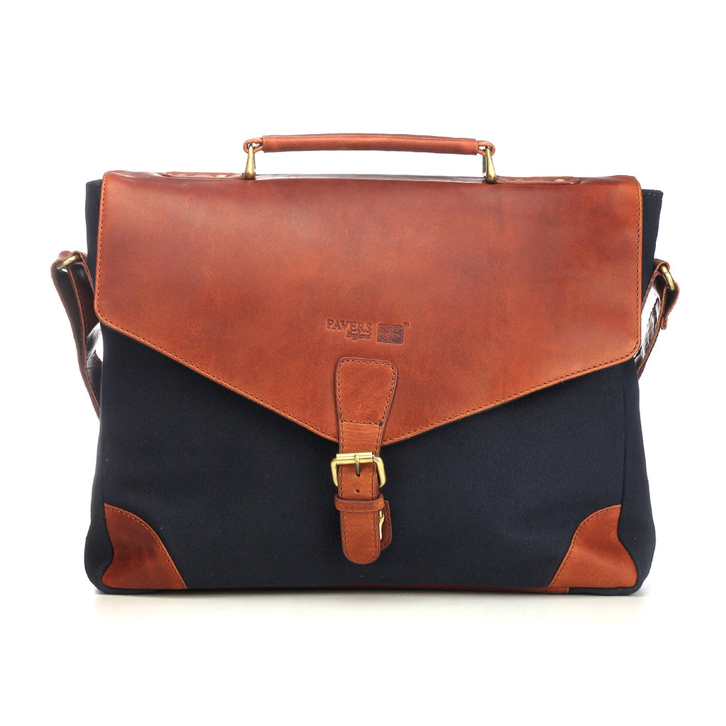 Stylish & Suave Navy Multi Leather Business Handbag for Men - Laptop Bags - Pavers England