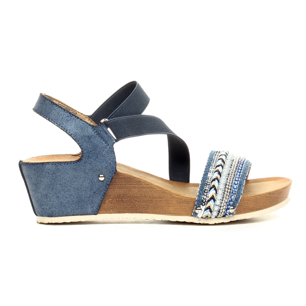 Jewel Embellished Sandals with Ankle Strap-Blue - Sandals - Pavers England