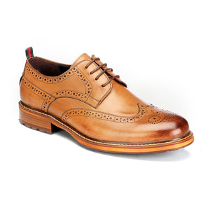 Men's Brogue Shoe - Tan - Pavers England