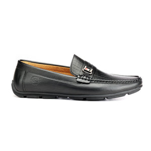 Textured Loafers for Men - Black - Pavers England