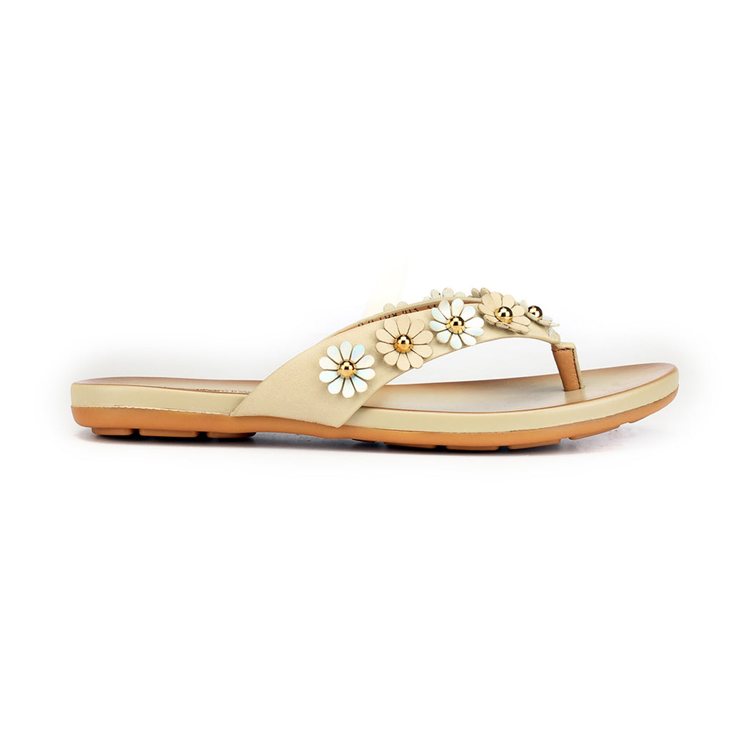 Chic Floral Toepost for Women - Beige - Pavers England