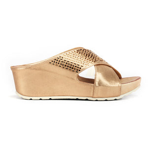 Jewel Embellished Mule Wedges for Women-Bronze - Mules - Pavers England