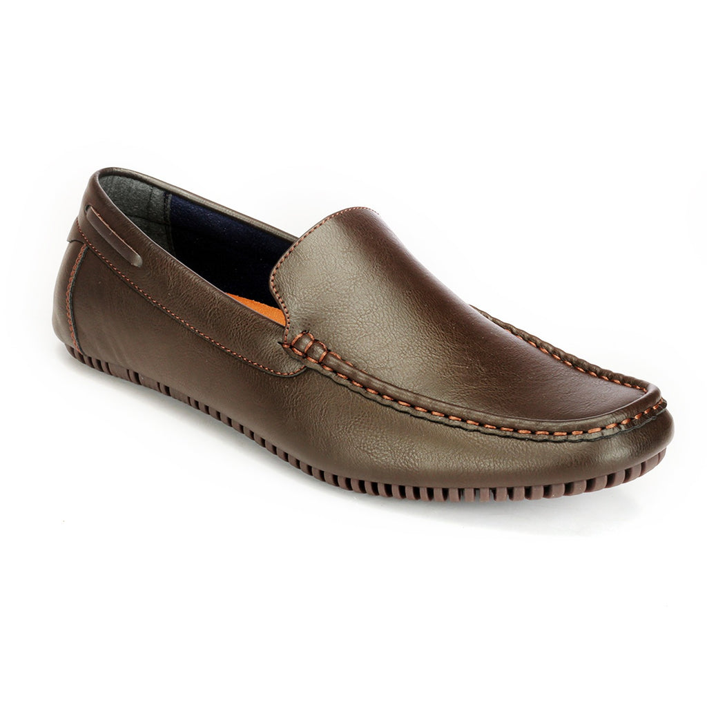 Sew Detailed Casual Loafers-Brown - Slip ons - Pavers England