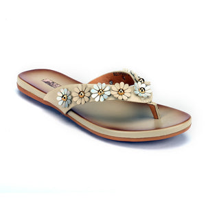 Chic Floral Toepost for Women - Beige - Toe Posts - Pavers England