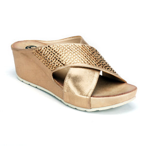Jewel Embellished Mule Wedges for Women-Bronze - Open Mules - Pavers England