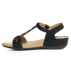 Buckle fastening Sandals for Women - Black - Sandals - Pavers England