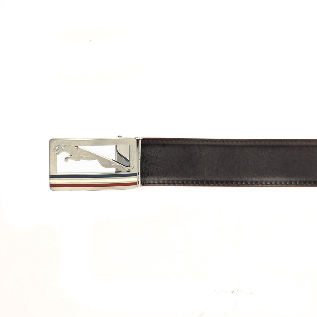 Metallic Closure Leather Belt for Men-Black - Wallets - Pavers England