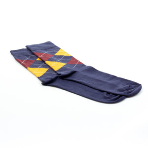 Patterned Cotton Socks Men-Navy - Socks - Pavers England