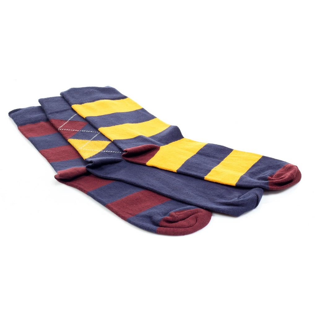 3-Pair Patterned Warm Socks Men - Yellow - Bags & Accessories - Pavers England