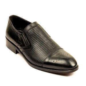 Stylish Leather Slip-ons for Men - Black - Formal Loafers - Pavers England