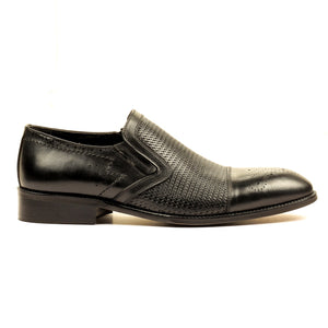 Stylish Leather Slip-ons for Men - Black - Pavers England