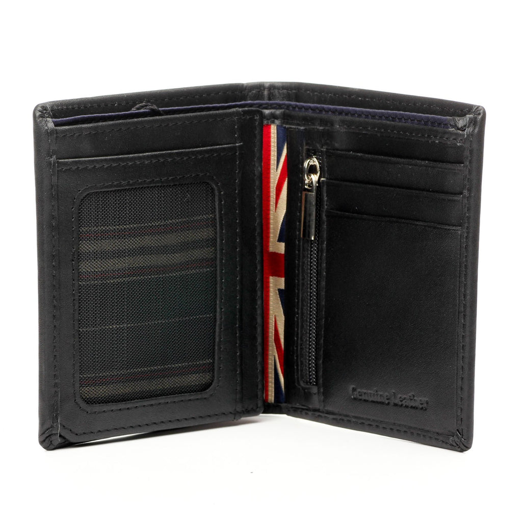 Leather Mini Wallet for Men - Black - Bags & Accessories - Pavers England