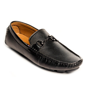 Textured Bit Loafers-Black - Slip ons - Pavers England