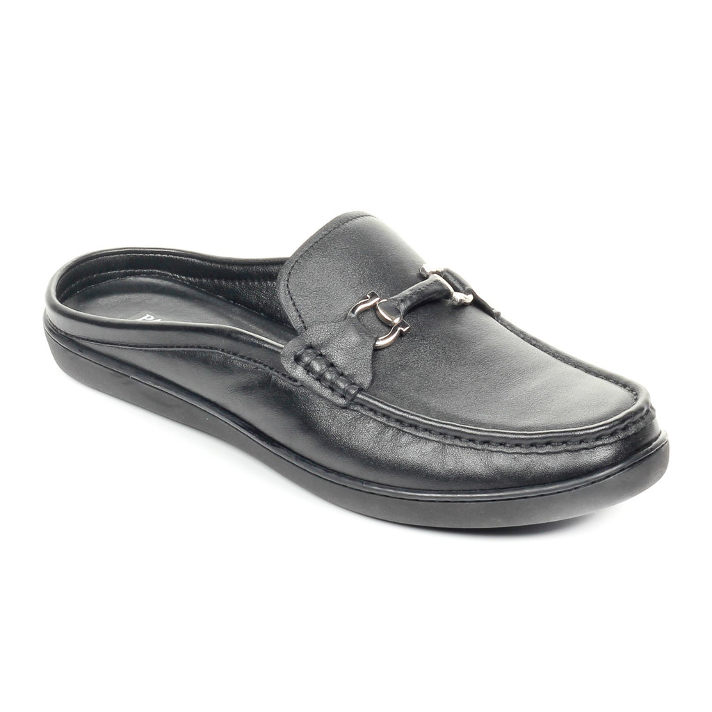 Trendy Casual Leather Mules - Black - Smart Casuals - Pavers England