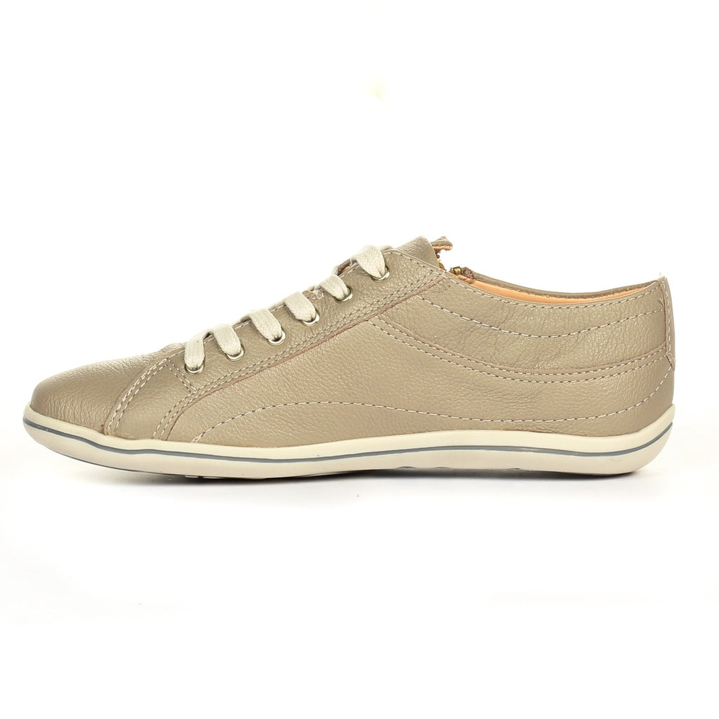 Zip Fastening Leather Lace-Ups for Women-Beige - Pavers England