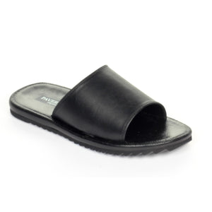 Casual Leather Mules for Men - Black - Open Toe - Pavers England