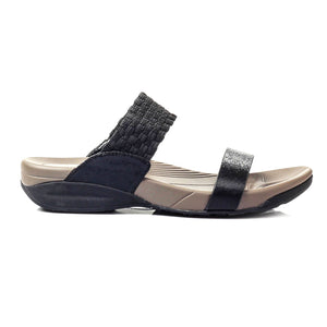 Metallic Sheen Slip-on Mules-Black - Mules - Pavers England