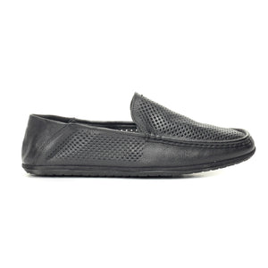 Black Laser Cut Loafers for Men - Slip ons - Pavers England