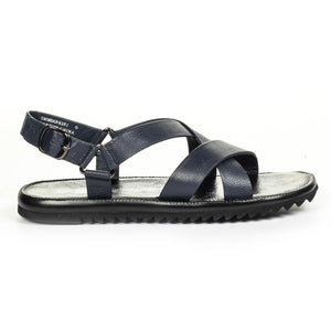 Casual Leather Sandals for Men - Navy - Sandals - Pavers England