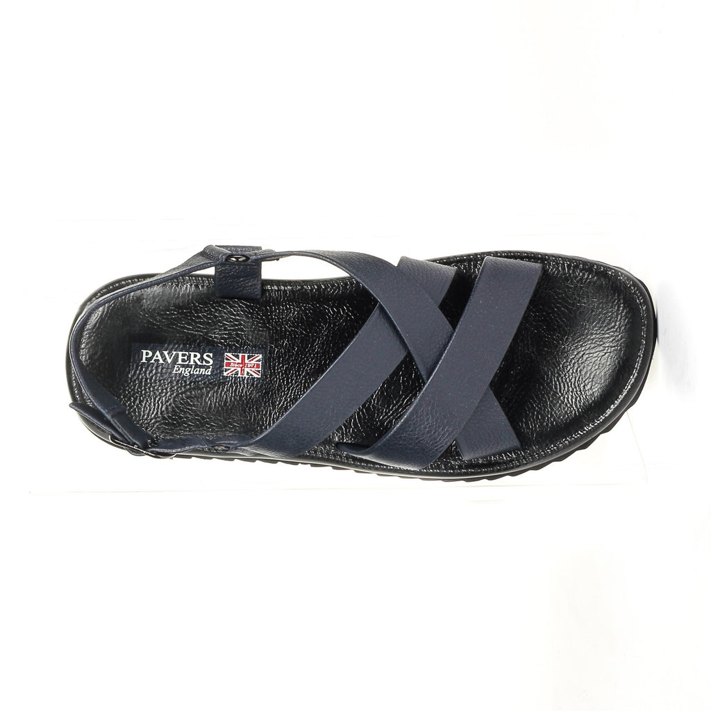 Casual Leather Sandals for Men - Navy - Pavers England