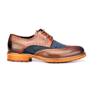 Men's Brogue Shoe - Brown - Laced Shoes - Pavers England
