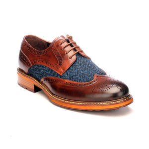 Men's Brogue Shoe-Brown - Lace ups - Pavers England