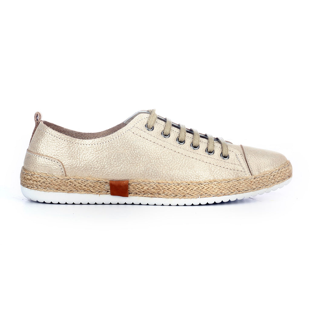 Leather Sneaker for Women - Gold - Sneakers - Pavers England