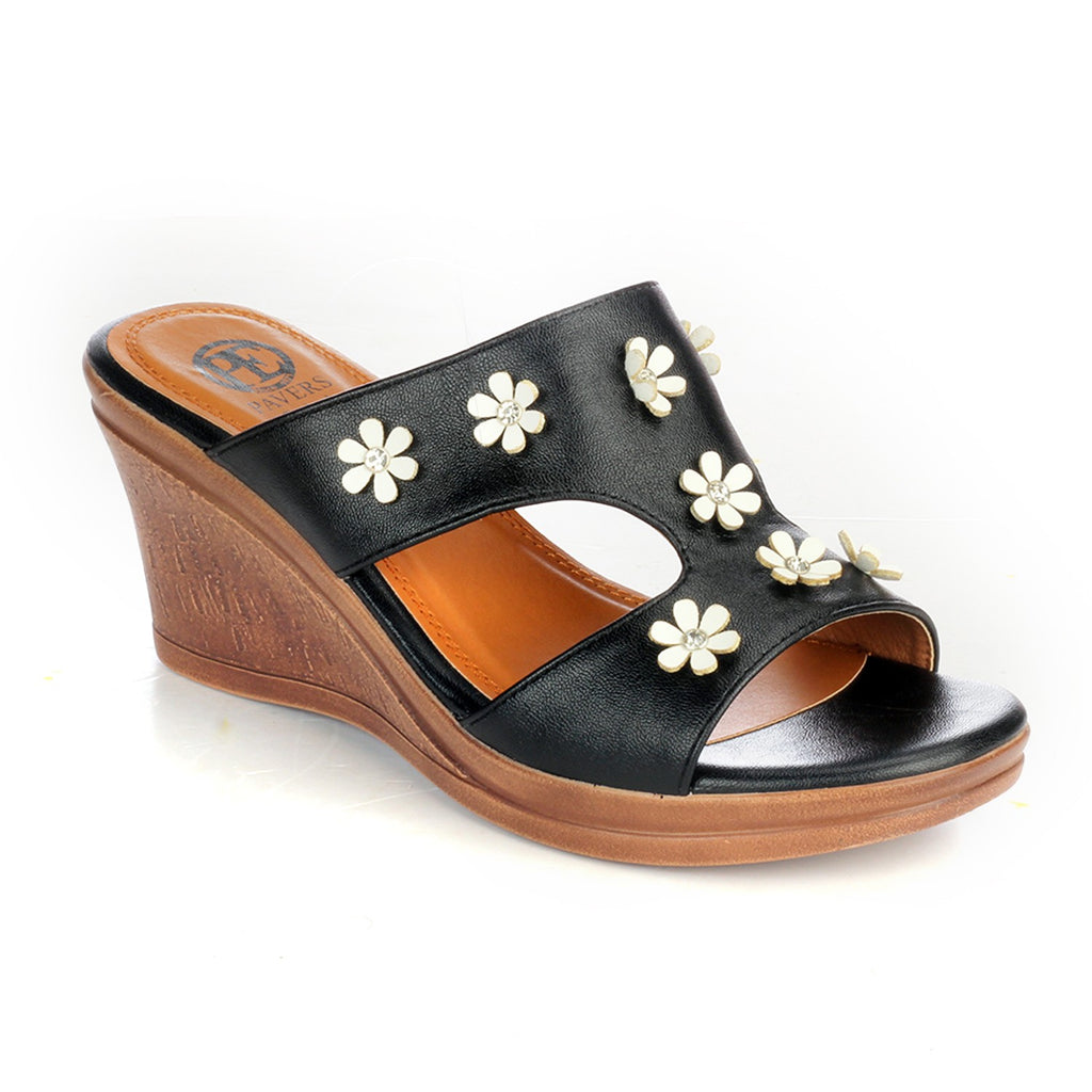 Jewel Embellished Mule Wedges for Women - Black - Pavers England
