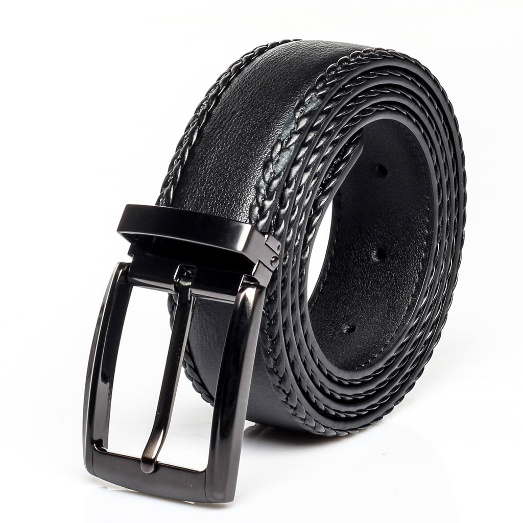 Men's Leather Formal Belt with Metal Closure - Black - Bags & Accessories - Pavers England
