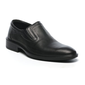 Low Heel Leather Slip-ons-Black - Formal Loafers - Pavers England
