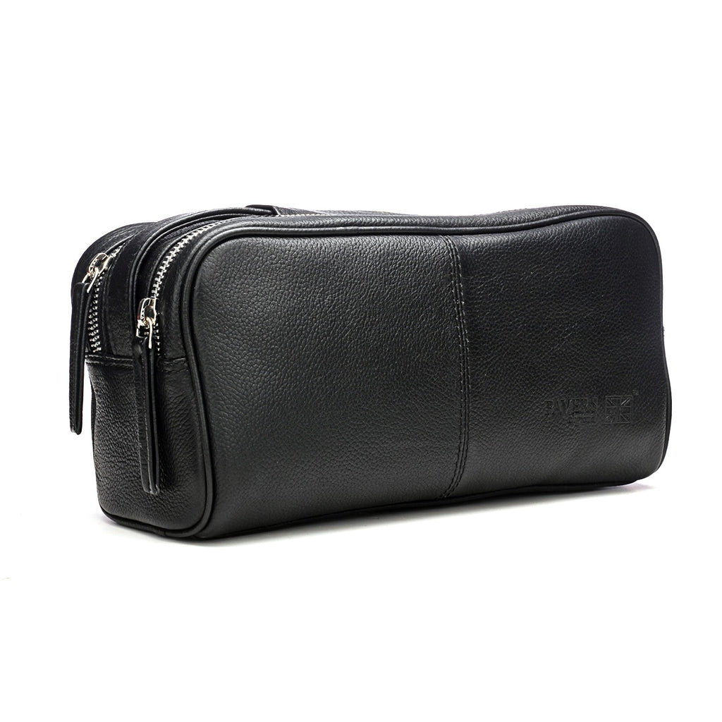 Stylish & Spacious Black Leather Makeup Kit for Women - Pouches - Pavers England