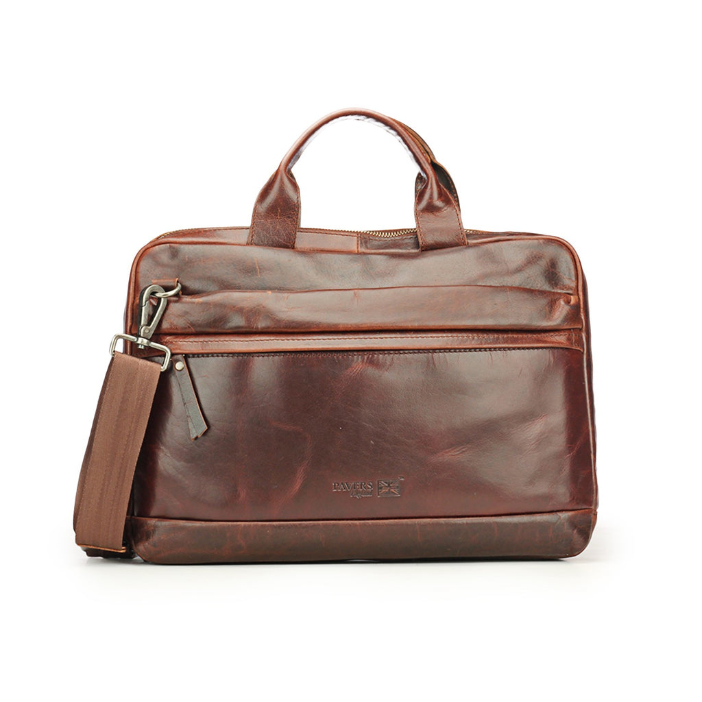 Brown Executive Leather Bag - Laptop Bags - Pavers England